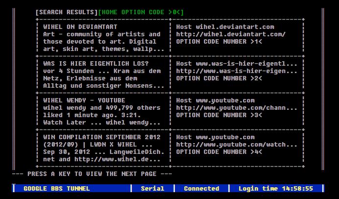 Google im Mad Men-Stil? Google BBS Terminal! | Nerd-Kram | Was is hier eigentlich los? | wihel.de