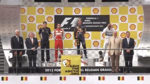 Shell vorgeführt: Greenpeace versaut die Preisverleihung beim Grand Prix in Spa | Werbung | Was is hier eigentlich los?