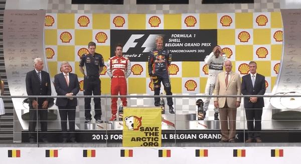 Shell vorgeführt: Greenpeace versaut die Preisverleihung beim Grand Prix in Spa