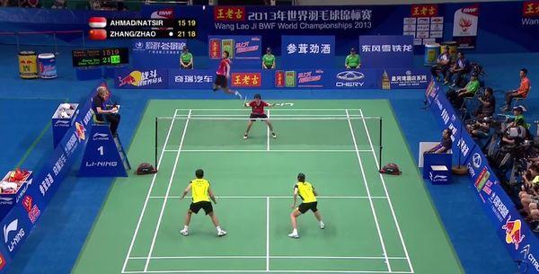Nur ein semi-professioneller Badminton-Ballwechsel