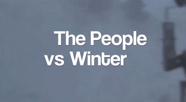 Menschen und der Kampf gegen den Winter