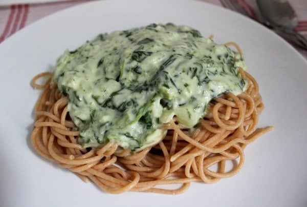 Line kocht... Vollkornpasta mit Gorgonzola-Spinat-Soße - 01