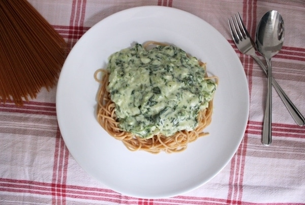 Line kocht... Vollkornpasta mit Gorgonzola-Spinat-Soße