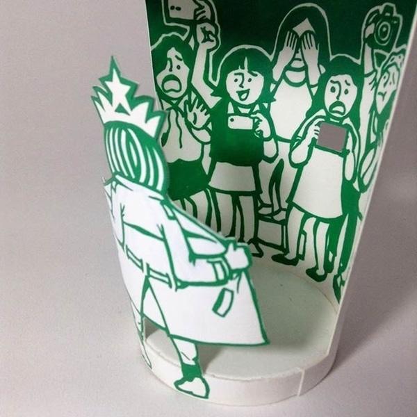 Starbucks-Becher aufgepimpt von Soo Min Kim | Design/Kunst | Was is hier eigentlich los? | wihel.de