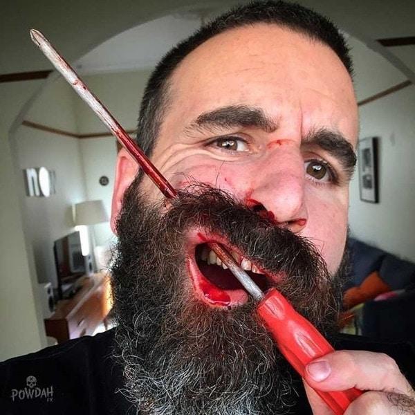 Extrem realistisches Grusel-Make-Up von Marc Clancy