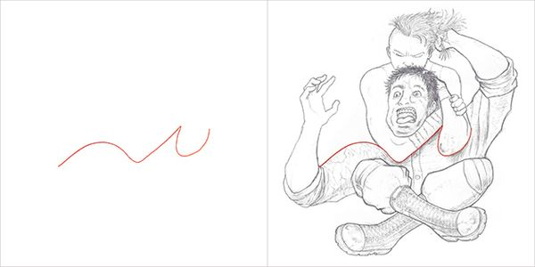 Kreativübung von Rafael Dukenny - Kunst aus roten Strichen | Design/Kunst | Was is hier eigentlich los? | wihel.de