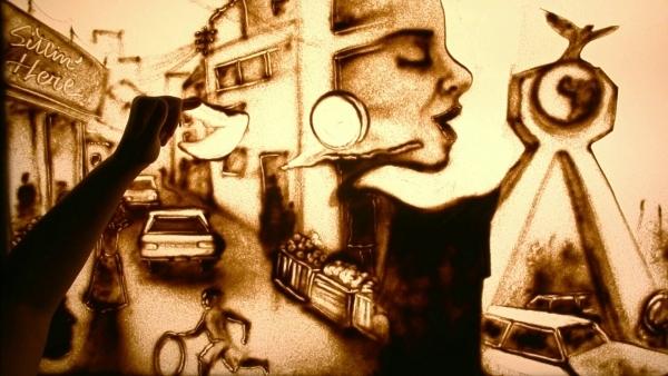 Sandmalerei von Didi Rodan | Musik | Was is hier eigentlich los?