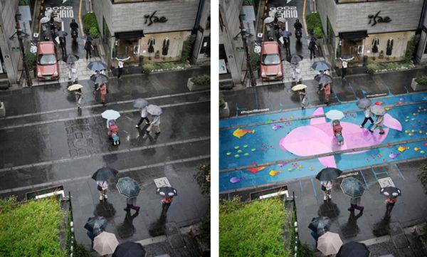Straßen, die bei Regen bunt werden