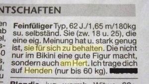 Immerhin ehrlich: Eine Kontaktanzeige | Lustiges | Was is hier eigentlich los? | wihel.de