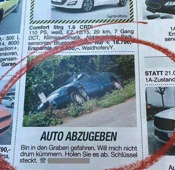 Auto günstig abzugeben | Lustiges | Was is hier eigentlich los? | wihel.de