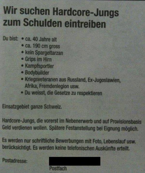Jobangebot des Tages | Lustiges | Was is hier eigentlich los? | wihel.de