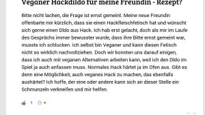 Frage fürs Wochenende: Veganer Hackdildo? | Lustiges | Was is hier eigentlich los? | wihel.de