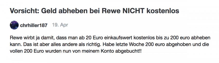 Bei REWE kann man gar nicht kostenlos Geld abheben!   Was