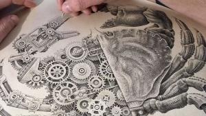 Eine biomechanische Krabbe von Steeven Salvat im Zeitraffer gezeichnet | Design/Kunst | Was is hier eigentlich los?