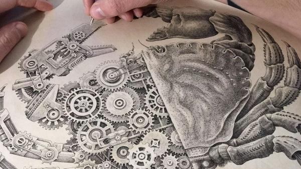 Eine biomechanische Krabbe von Steeven Salvat im Zeitraffer gezeichnet | Design/Kunst | Was is hier eigentlich los? | wihel.de