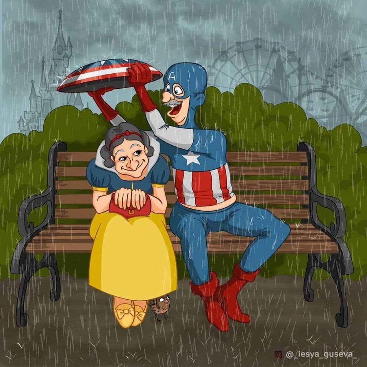 Gealterte Superhelden von Lesya Guseva | Design/Kunst | Was is hier eigentlich los?