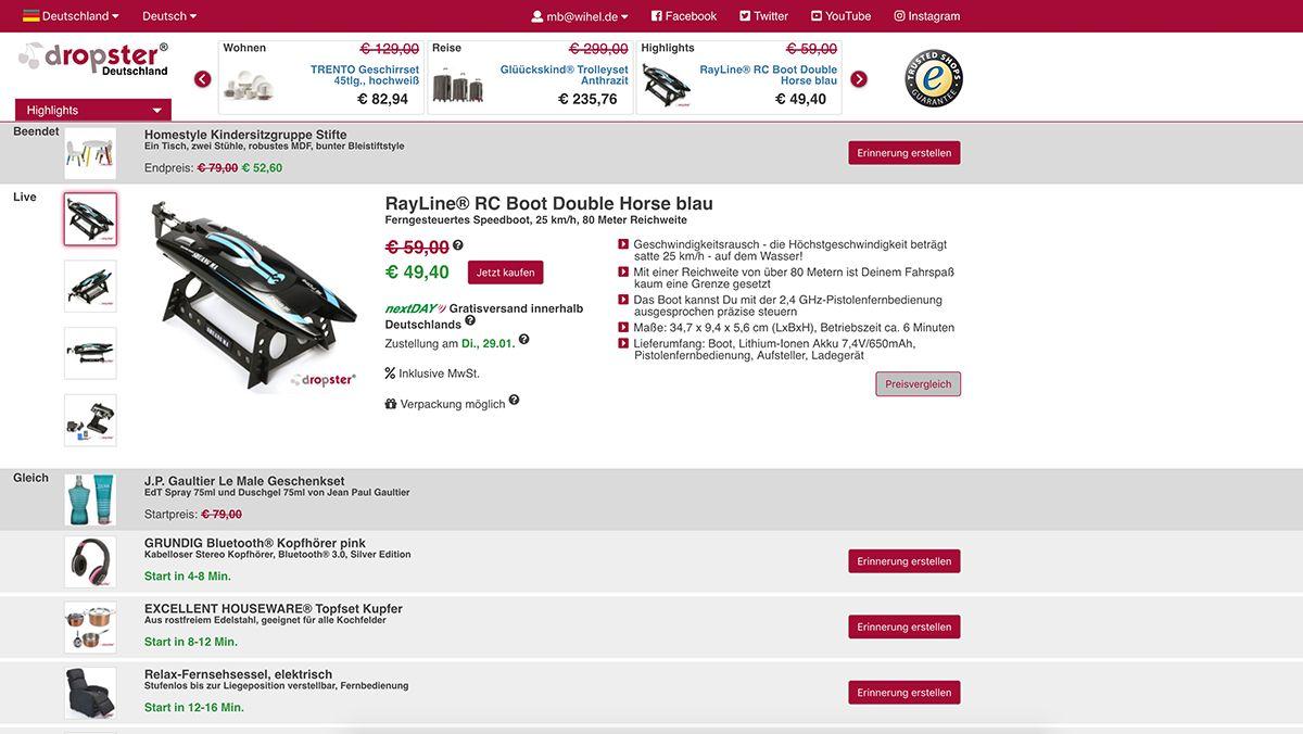 Nervenkitzel-Shopping mit dropster – Denn der Preis fällt sekündlich | sponsored Posts | Was is hier eigentlich los?