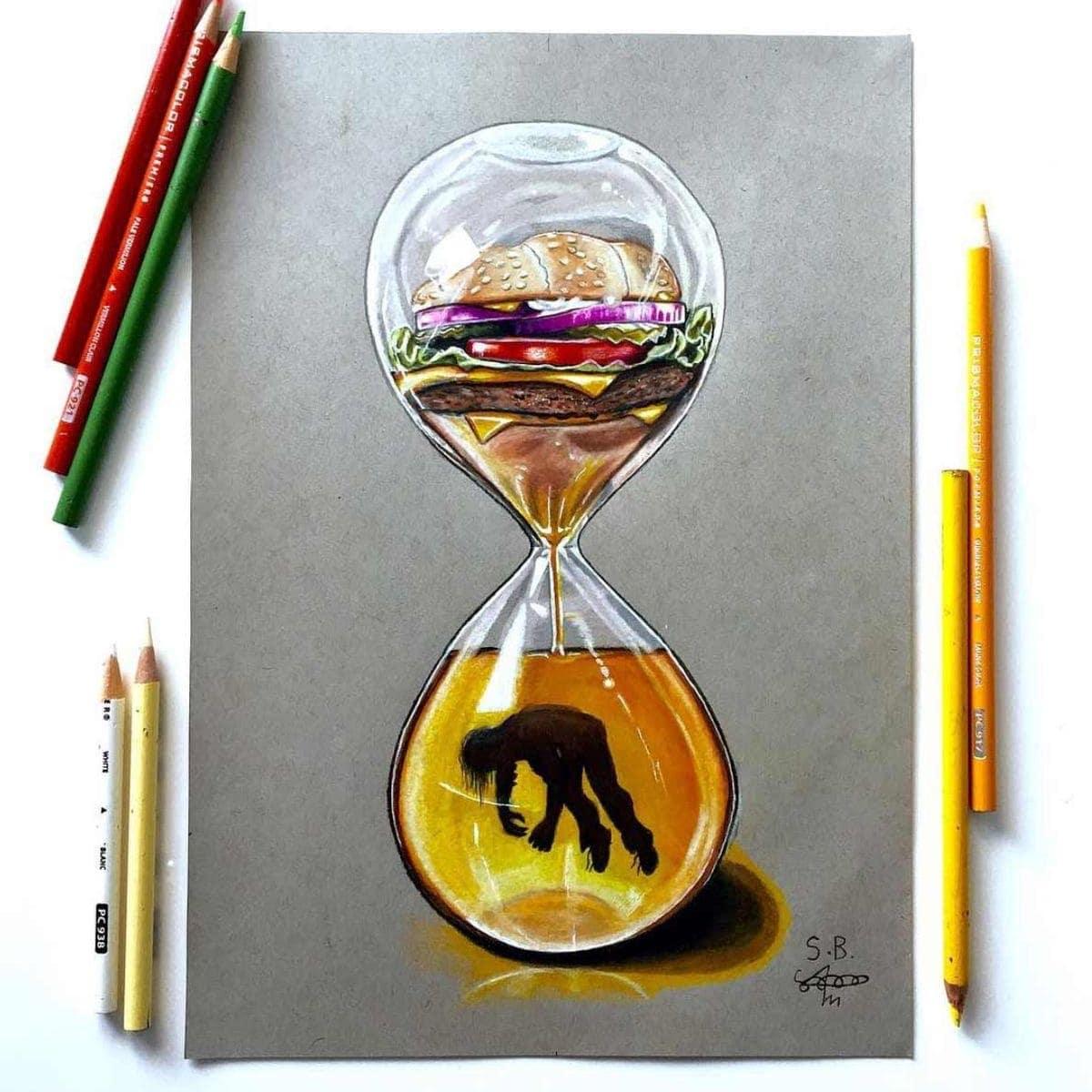 Gesellschaftskritische Buntstift-Zeichnungen von Sam Bailey | Design/Kunst | Was is hier eigentlich los?