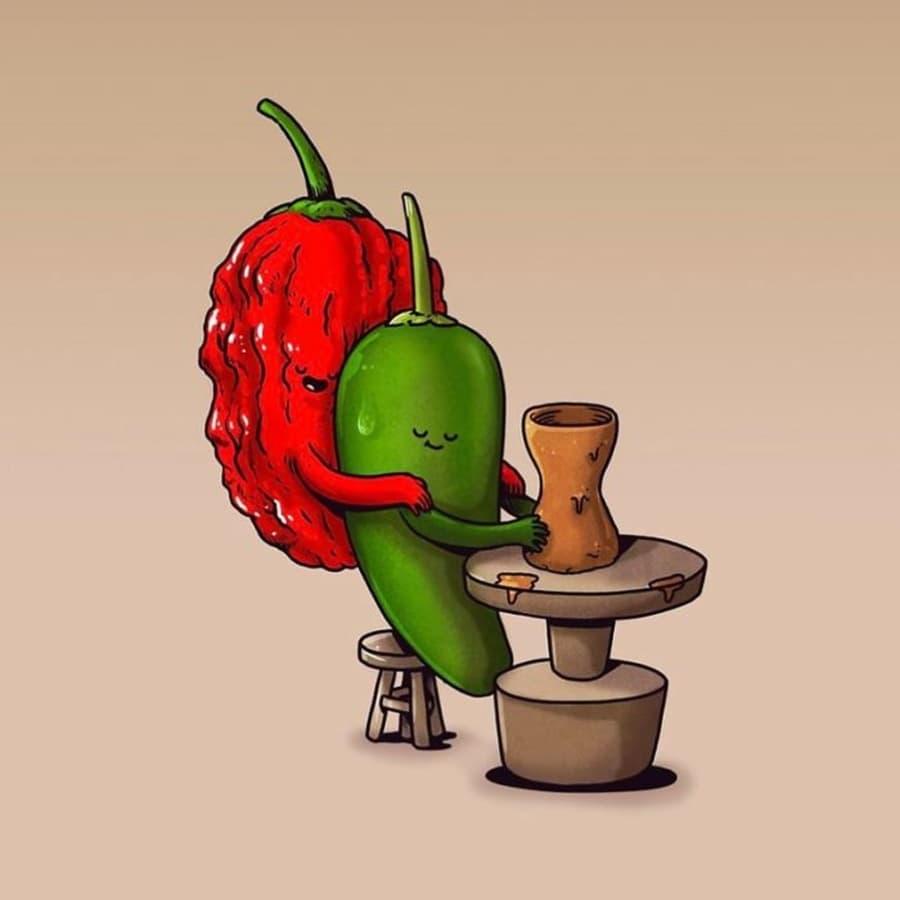 Die menschlichen Alltagsprobleme von Obst und Gemüse von Alex Solis | Design/Kunst | Was is hier eigentlich los?