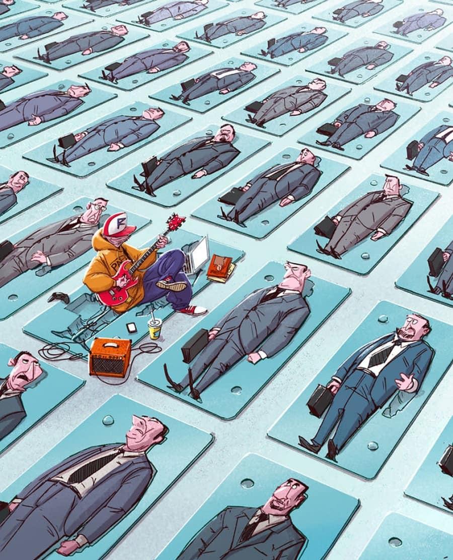 Gesellschaftskritische Illustrationen von Michal Dziekan | Design/Kunst | Was is hier eigentlich los?