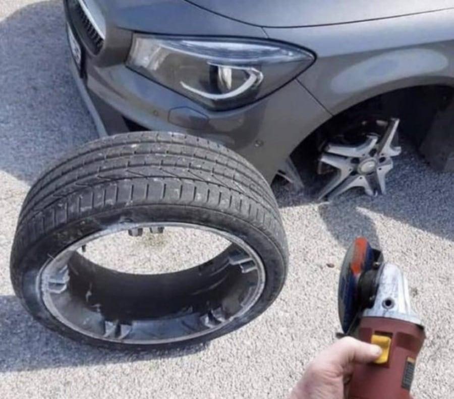 Reifenwechsel lieber nur vom Fachmann | Lustiges | Was is hier eigentlich los?
