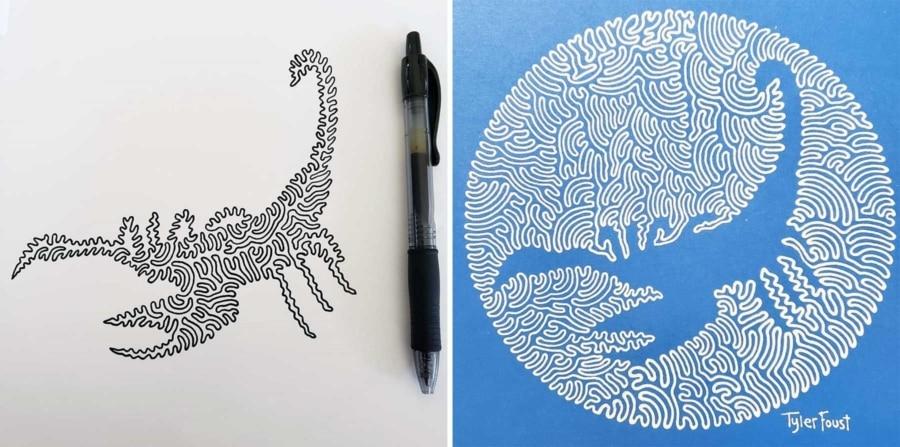 Tyler Foust malt Bilder mit nur einer Linie | Design/Kunst | Was is hier eigentlich los?