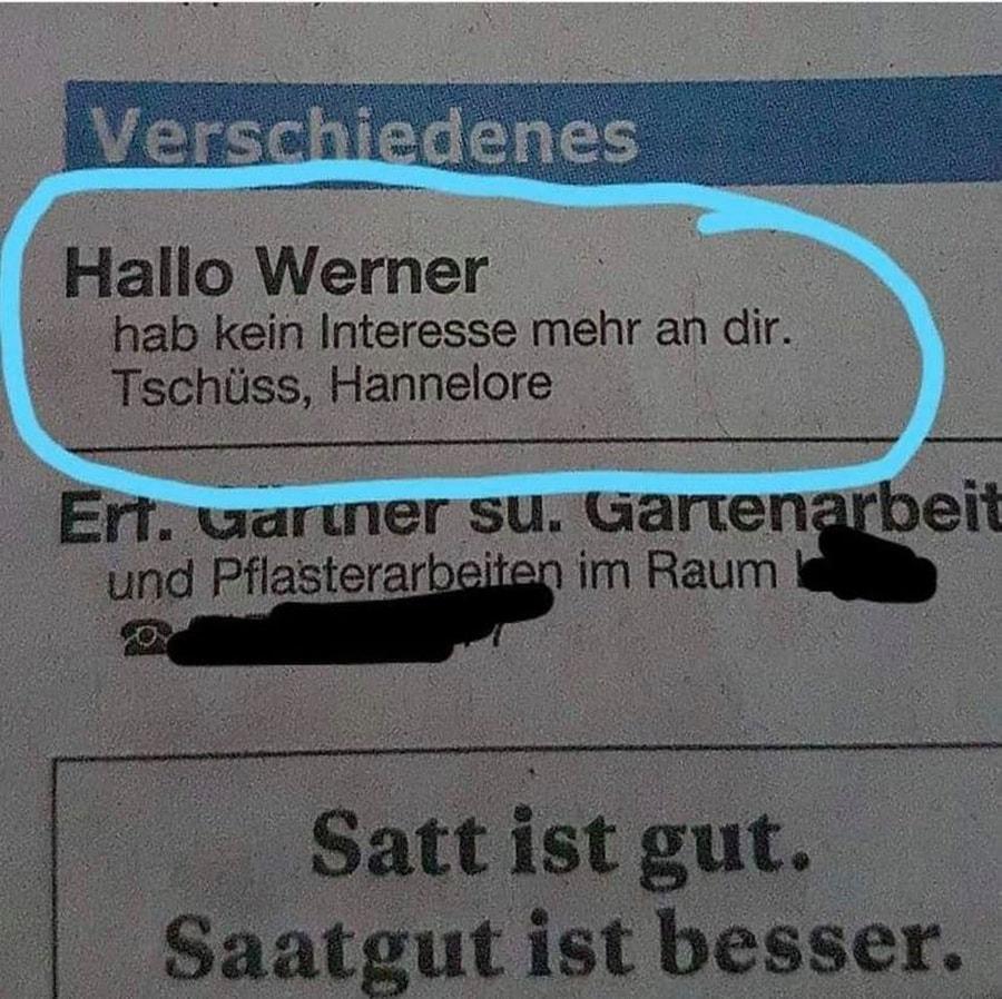 Hoffe, Werner kommt einigermaßen klar   Lustiges   Was is hier eigentlich los?